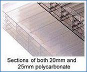 Sections of both 20mm and 25mm polycarbonate